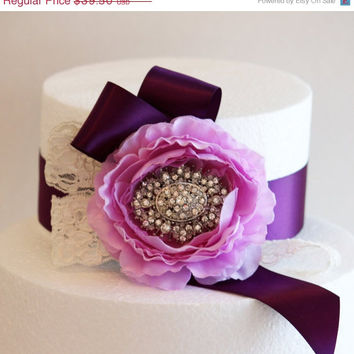 Lavender and Purple Wedding Cake Decorations, Purple Wedding Accessory, Vintage Wedding Decoration, Lace