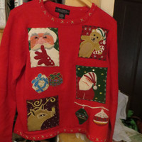 1980's All Points Womens Ugly Christmas  Sweater   SANTA Trees  gifts bear reindeer ornaments  sz small