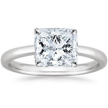 .1/2 - 2 Carat GIA Certified Platinum Solitaire Princess Cut Diamond Engagement Ring (D-E Color, VVS1-VVS2 Clarity)