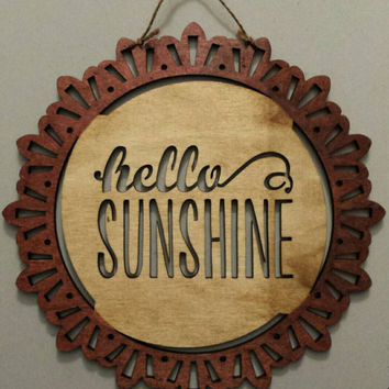 Hello Sunshine Wooden Wall Hanging - Wooden Sunshine Sign