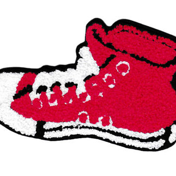 XL Extra Large Vintage Style Chenille Red High Hi Top Basketball Star Sneaker Shoe Patch Badge (14cm)
