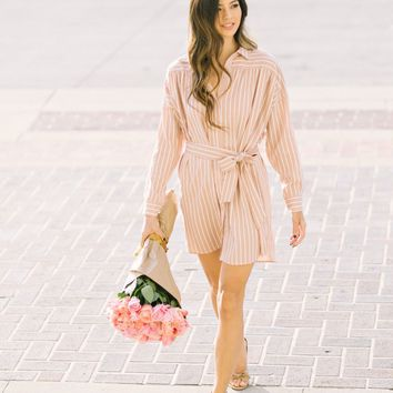 Zoey Peach Striped Dress