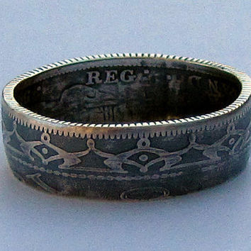 Newfoundland 20 Cent Silver Coin Ring Patina Finish