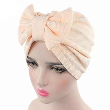 Women New Big Bow Turban Women's Hats India Europe Style Fashion Headdress Luxury Stylish Chemo Cap Women Bowknot Hat