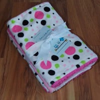 Baby Burp Cloths/Minky Pink Polka Dots/ Set of 3