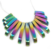 Rainbow Hematite Graduated Fan Beads: Cleopatra Pendant Set