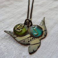 Necklace Song Bird - with any 2 LOWERCASE initials - Song Bird and Musical Notes - Cream -