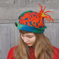 Unique fancy felted hat like coral reef, decorated with orange dreadlocks and wool curls , OOAK