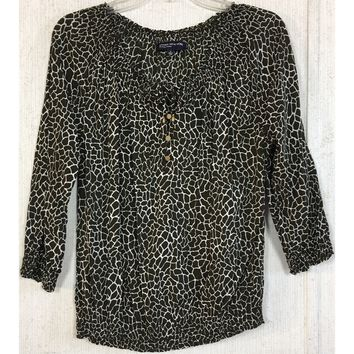 Jones New York Olive Green Giraffe Peasant Top Off Shoulder Tie Button Blouse S