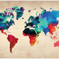 World Watercolor Map 1 Foto van NaxArt bij AllPosters.nl