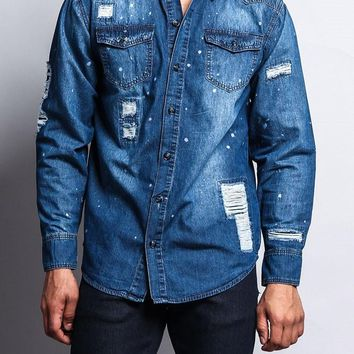 Paint Splattered Distressed Denim Button Up Shirt SH450 - E11I