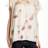 Short Flutter Sleeve Split Neck Blouse
