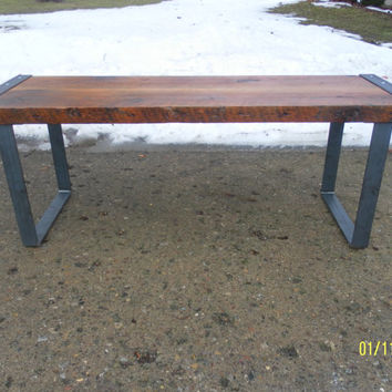 "salvaged reclaimed industrial and steel  bench coffee table with strap steel legs 48"" by 15"" old barn wood metal ends free shipping"