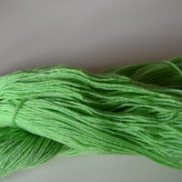 Hand Dyed Superwash Bluefaced Leicester/Bamboo Fingering/Sock Knitting Crochet Lime Fresh