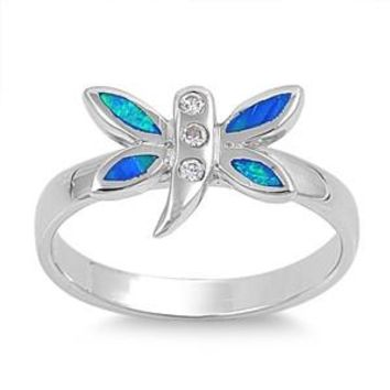 Sterling Silver Dragonfly Tinkerbell 10MM Blue Lab Opal Ring