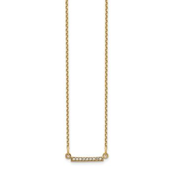 14K Yellow Gold 14ky Diamond Tiny Bar Necklace