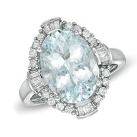 Oval Aquamarine and 3/8 CT. T.W. Diamond Framed Ring in Sterling Silver - Clearance - Zales