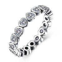 Authentic 925 Sterling Silver Pandora Ring Forever More Love Heart With Crystal Rings For Women Wedding Gift Fine Jewelry