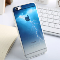 Fashion Thin Soft Silicone Lightning Transparent Back Cover Case For Apple iPhone SE 5s / 6 6s / Plus