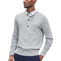 Banana Republic Mens Military Henley Pullover