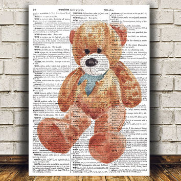 Bear poster Animal art Dictionary print Grizzly print RTA1330