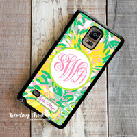 Lilly Pulitzer Yellow Sunny Flower Monogram Samsung Galaxy Note 4 Case Cover for Note 3 Note 2 Case