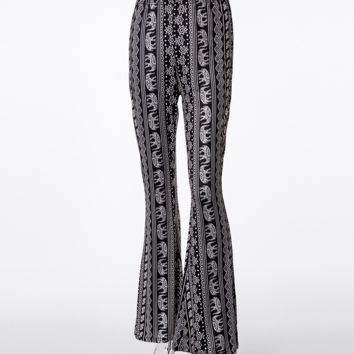Fashion New Print Retro Bell-Bottoms Personality Women Pants