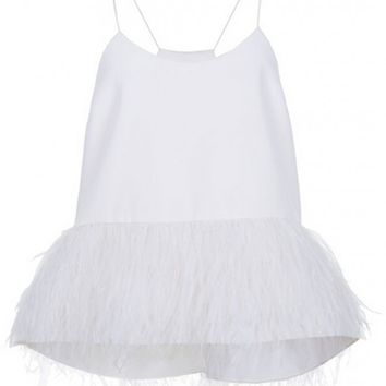 Tibi Stretch Faille Feather Detailed Cami