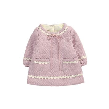 European Baby Girl Clothing Cute Thick Warm Plaid Velvet Jacket For Girl Beautiful Winter Baby Jacket Pretty Baby Coat Spring