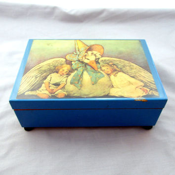 Nursery Music Box Plays The Cradle Song Melody / Schubert's Lullaby Mother Goose Design Signed & Numbered Vintage Collectible Item 2212