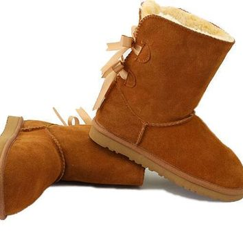 UGG fashion women two bow leather wool boots snow boots