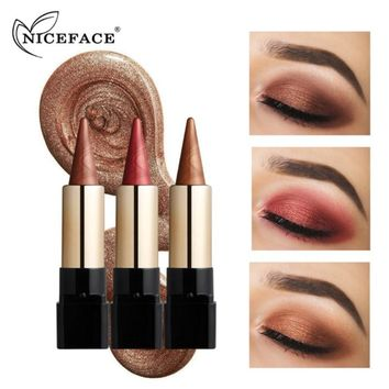 NICEFACE 20 Color Metallic Eyeshadow Stick Creamy Crayon Waterproof Eye Shadow Pen Makeup Lasting Shimmer Smoky Sparkling Finish