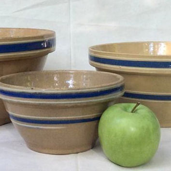 Antique Yellowware Batter Mixing Bowls - American Pottery - Yellowware- Vintage - Retro Kitchen Decor-Home Cooking