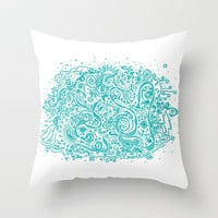 DoodleLand Throw Pillow by Lisa Argyropoulos | Society6