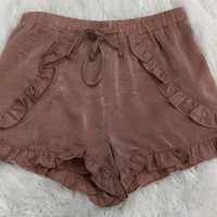 Satin Ruffle Shorts