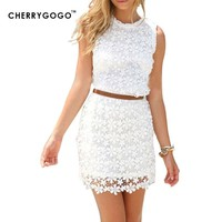 Cherrygogo Women's Openwork lace dress casual perspective