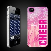 Cheerleading Theme iPhone Hard Case Tye-Dye Pink Cheer- CLEAR Protective for iPhone 4/4s