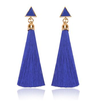 Bohe Acrylic Long Tassels Stud Earring Statement Luxury Silk Thread Ethnic Triangle Earrings For Women Gift Statement Jewelry