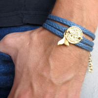 Men's Bracelet - Blue Fabric Bracelet With Gold Plated Boat Coin - Men's Jewelry - Nautical Jewelry - Coin Jewelry