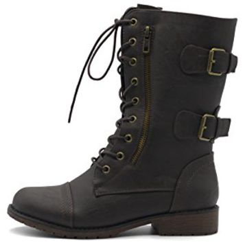 Women's Shoes Faux Leather Buckle Zipper Accent Lace Up Combat Ankle Boots