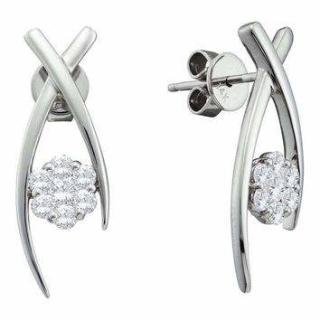 14kt White Gold Women's Round Diamond Flower Cluster Screwback Stud Earrings 1-2 Cttw - FREE Shipping (USA/CAN)