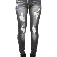 Charcoal Yellow Distressed Designed Leggings