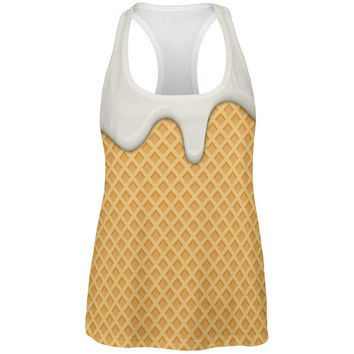 Melting Vanilla Ice Cream Cone All Over Womens Work Out Tank Top