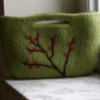 Felted Handbag Purse Berry Branch Wool Clutch - Made to Order