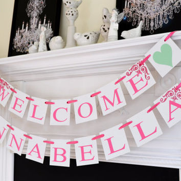 Shop welcome baby shower signs on wanelo for Welcome home baby shower decorations