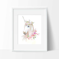 Unicorn Art Print - Wall Art - Animal Decor - Office Decor - Vanity Decor - Home Decor - Children's Wall Art