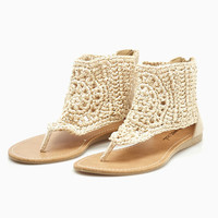 Faux Suede & Crochet Hooded Sandals | Wet Seal