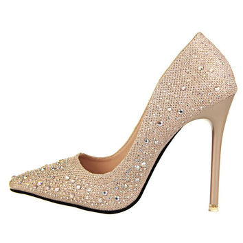 2016 New Fashion Sexy Women Silver Rhinestone Wedding Shoes Platform Pumps Red Bottom High Heels Crystal Shoes Gold Black Pink