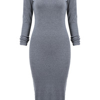 Grey Long Sleeve Skinny Split Dress -SheIn(Sheinside)