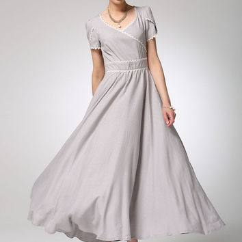Light grey linen dress maxi dress women prom dress (1260)